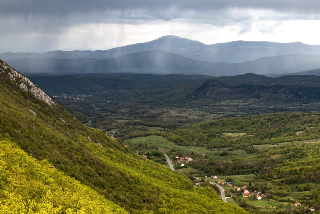 View at Srb, Kupirovo and Međeđak in Lika, while Bosnia is struck with rain shower